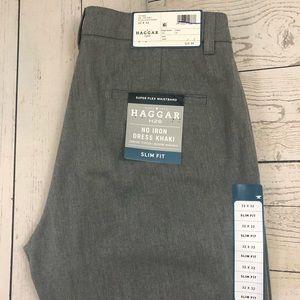 Haggar H26 W32 x L32 Gray Slim Fit No Iron Khakis